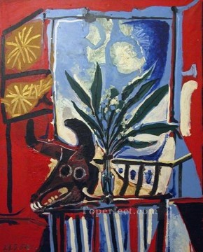 Nature morte a la Tete de taureau 1958 Cubist Oil Paintings
