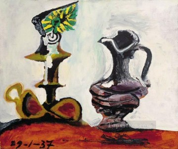 Famous Abstract Painting - Nature morte a la bougie l 1937 Cubism