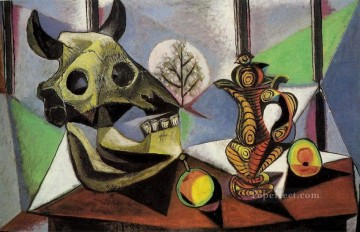 Nature morte au crane de taureau 1939 Cubist Oil Paintings