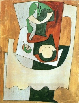 Famous Abstract Painting - Nature morte au gueridon et a l assiette 1920 Cubist