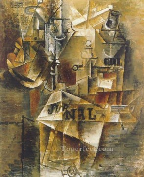 Nature morte au journal 1912 Cubist Oil Paintings