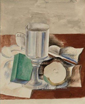 Nature morte au verre et a la pomme 1914 Cubist Oil Paintings