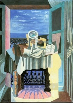 Nature morte devant une fenetre a Saint Raphael 1919 Cubist Oil Paintings
