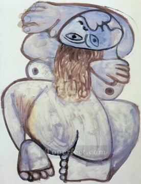 Nu accroupi 1971 Cubist Oil Paintings