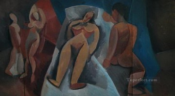 Famous Abstract Painting - Nu couche avec personnages 1908 Cubist