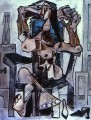 Nude in an Armchair with a Bottle of Evian Water a Glass and Shoes 1959 Cubist