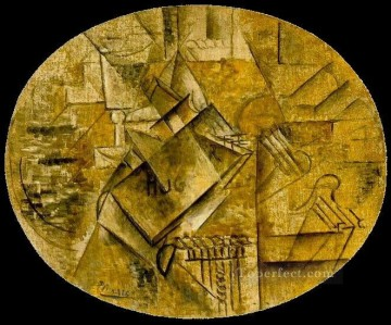 Palette pinceaux livre de Victor Hugo 1911 Cubist Oil Paintings