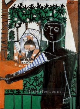 Paloma devant le jardin 1953 Cubist Oil Paintings