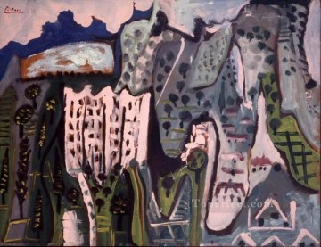Paysage de Mougins 1 1965 Cubist Oil Paintings