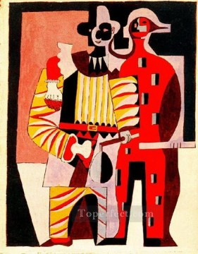 Pierrot et arlequin 1920 Cubist Oil Paintings