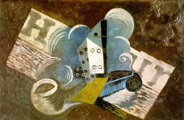 Pipe de journal 1915 Cubist Oil Paintings