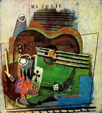 Pipe verre as de trefle bouteille de Bass guitare de Ma Jolie 1914 Cubist Oil Paintings