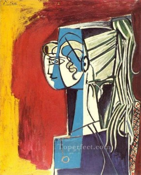 Portrait de Sylvette David 25 sur fond rouge 1954 Cubist Oil Paintings