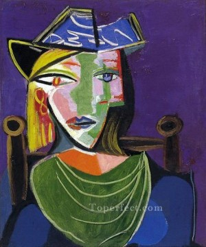Portrait de femme au beret 2 1937 Cubist Oil Paintings
