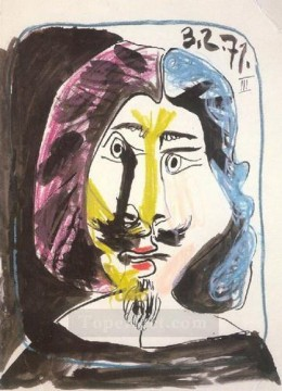 Portrait de mousquetaire 1971 Cubist Oil Paintings