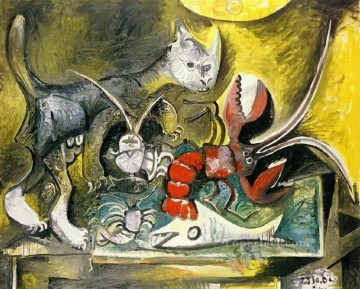 Still Life with Cat and Lobster 1962 Cubist Oil Paintings