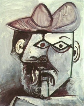 Tete d homme 1971 2 Cubist Oil Paintings