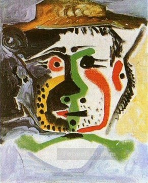 Tete d homme au chapeau 1972 Cubist Oil Paintings