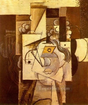Tete de jeune fille au chapeau garni de raisins 1913 Cubist Oil Paintings