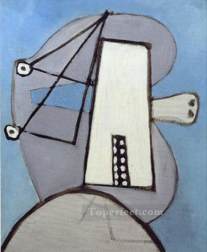 Tete sur fond bleu Figure 1929 Cubist Oil Paintings