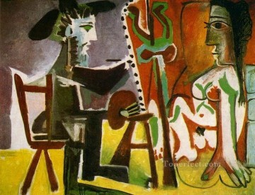 The Artist and His Model L artiste et son modele 1 1963 Cubist Oil Paintings