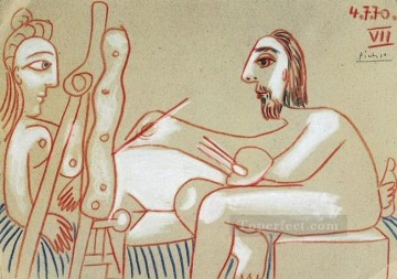 The Artist and His Model L artiste et son modele 3 1970 Cubist Oil Paintings