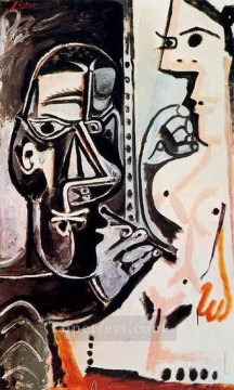 The Artist and His Model L artiste et son modele 4 1963 Cubist Oil Paintings