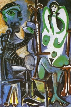 The Artist and His Model L artiste et son modele 5 1963 Cubist Oil Paintings