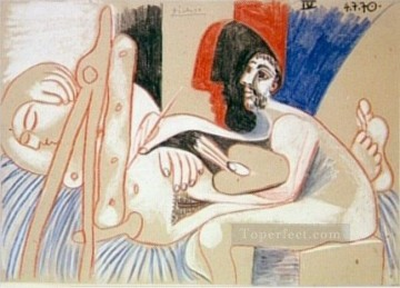 The Artist and His Model L artiste et son modele 7 1970 Cubist Oil Paintings