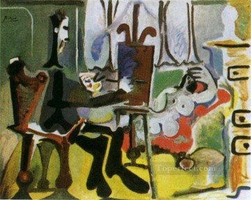 The Artist and His Model L artiste et son modele I 1963 Cubist Oil Paintings