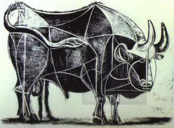 cattle bull cow Painting - The Bull State IV 1945 Cubist