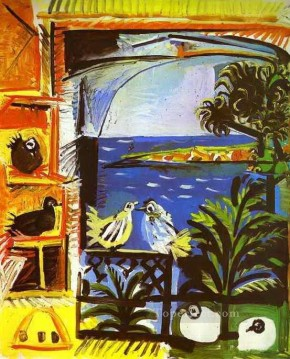 The Doves 1957 Cubist Oil Paintings