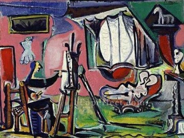 1963 Painting - The Painter and his Model 1963 Cubist