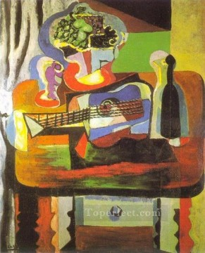 Verre bouquet guitare bouteille 1919 Cubist Oil Paintings