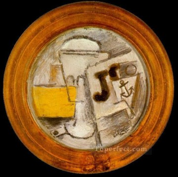 Verre pipe et journal 1914 Cubist Oil Paintings