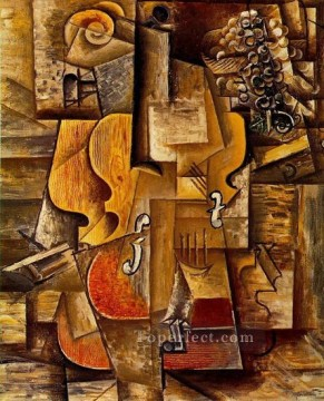 Violon et raisins 1912 Cubist Oil Paintings