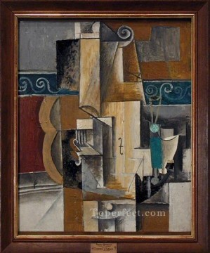 Violon et verres sur une table 1913 Cubist Oil Paintings