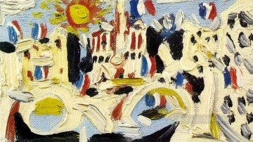Vue de Notre Dame de Paris 2 1945 Cubist Oil Paintings