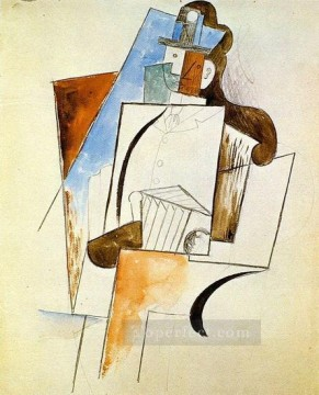 Accordeoniste Homme a chapeau 1916 Cubist Oil Paintings