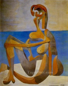 Baigneuse assise au bord de la mer 1930 Cubist Oil Paintings