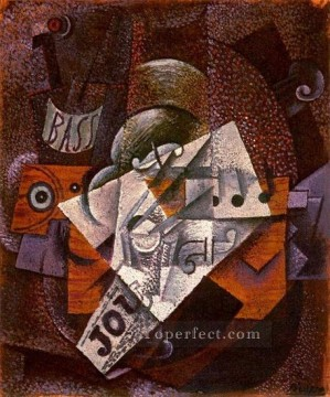 Bouteille clarinette violon journal verre 1913 Cubist Oil Paintings