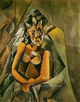 Femme assise 1909 Cubist Oil Paintings
