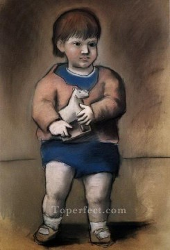 Famous Abstract Painting - L enfant au jouet cheval Paulo 1923 Cubist