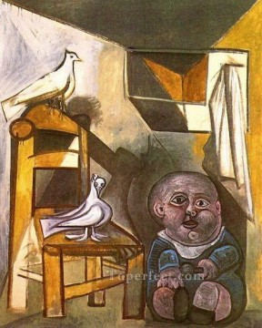 L enfant aux colombes 1943 Cubist Oil Paintings