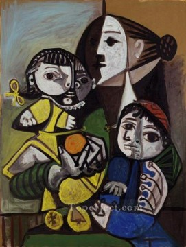 Mere aux enfants a l orange 1951 Cubist Oil Paintings