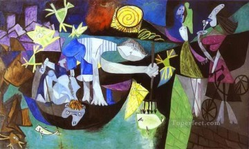 Night Fishing at Antibes 1939 Cubist Oil Paintings