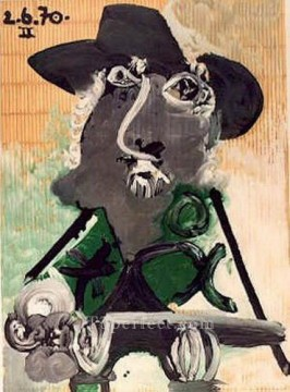 Portrait d homme au chapeau gris 1970 Cubist Oil Paintings
