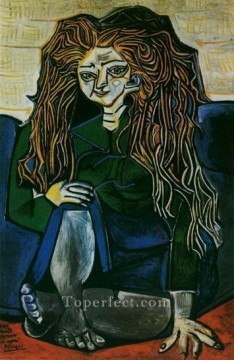 Portrait de madame Helene Parmelin sur fond vert 1951 Cubist Oil Paintings