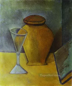 Wine Painting - Pot Wine Glass and Book 1908 Cubist