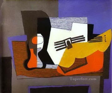 Still Life with Guitar 1921 Cubist Oil Paintings